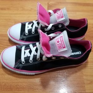 NEW Converse All Stars Black & Pink Double Tongue